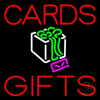 Red Cards And Gifts Block Neon Flex Sign