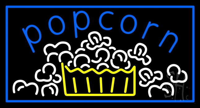 Blue Popcorn With Border Neon Flex Sign