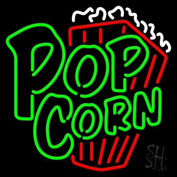 Green Popcorn With Logo Neon Flex Sign