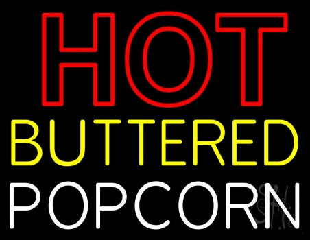 Red Hot Yellow Buttered White Popcorn Neon Flex Sign