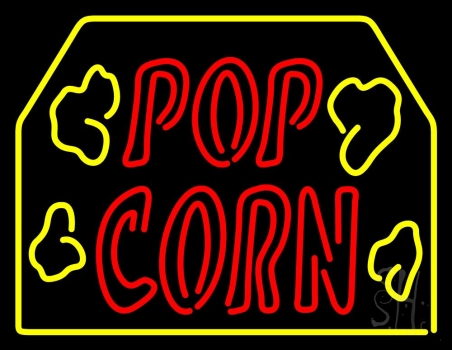 Red Popcorn Logo With Border Neon Flex Sign