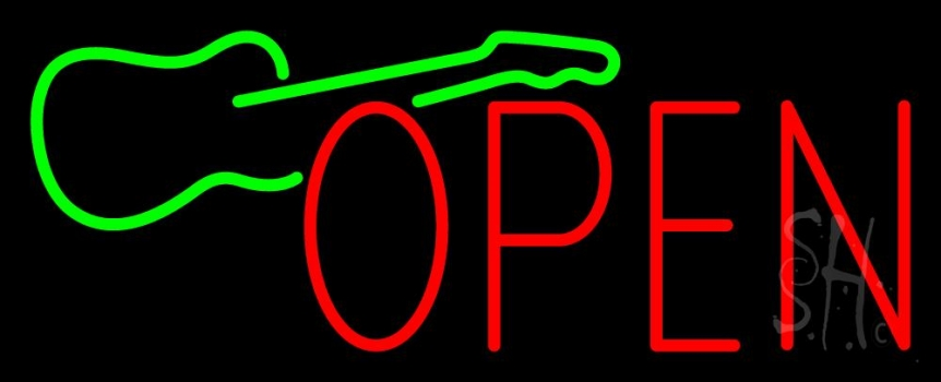 Green Guitar Open Neon Flex Sign