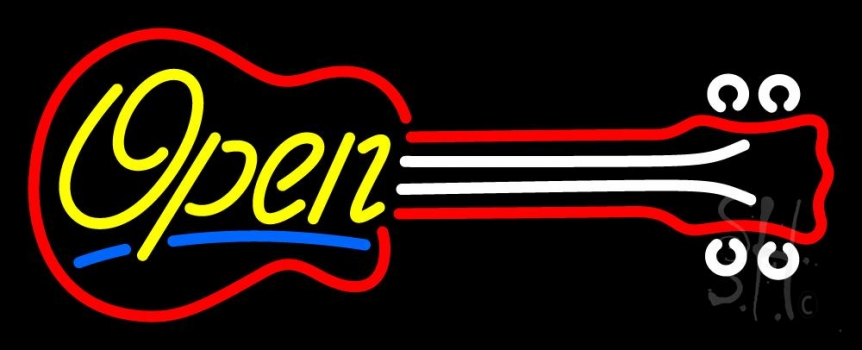 Guitar Open 2 Neon Flex Sign