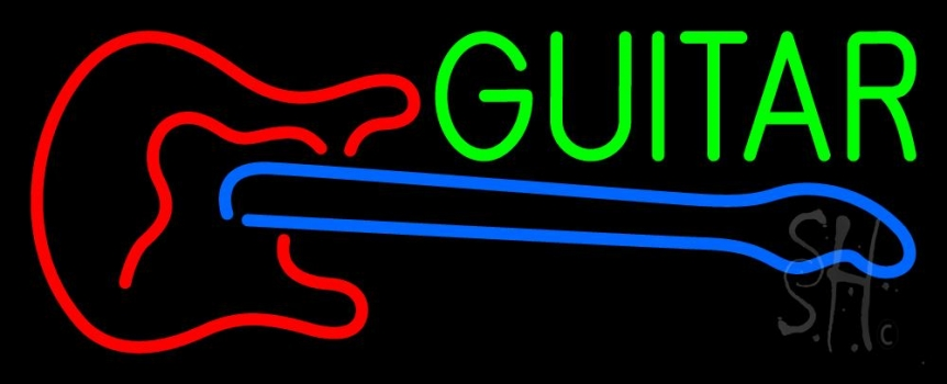 Guitar With Logo 2 Neon Flex Sign
