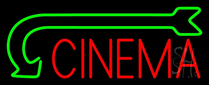 Red Cinema With Green Arrow Neon Flex Sign