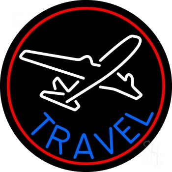 Blue Travel With Red Border Neon Flex Sign