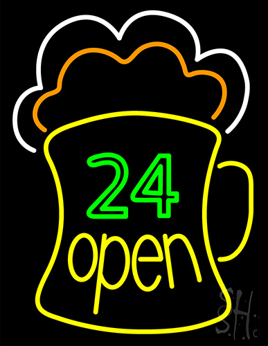 24 Open Beer Mug Neon Flex Sign