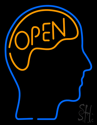 Open With Man Head Neon Flex Sign