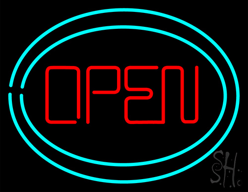 Open With Two Border Neon Flex Sign