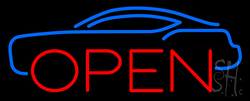 Blue Car Open Neon Flex Sign