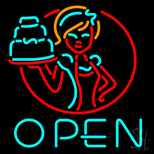 Cake With Girls Open Neon Flex Sign