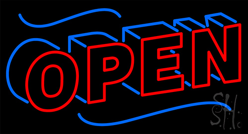 Open Block Neon Flex Sign