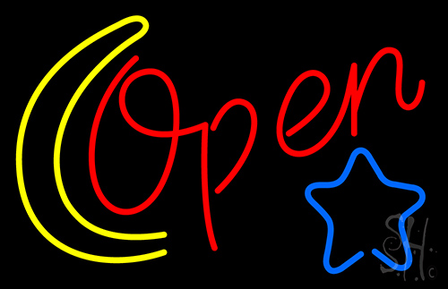 Open With Moon And Star Neon Flex Sign
