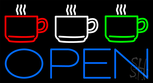 Three Cup Open Neon Flex Sign