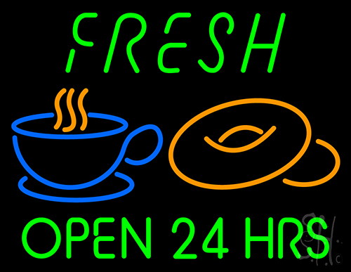 Green Fresh Open 24 Hrs Cups And Donuts Neon Flex Sign