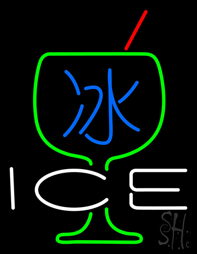 Ice Chinese With Glass Neon Flex Sign