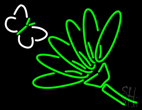 Flower With Butterfly Neon Flex Sign