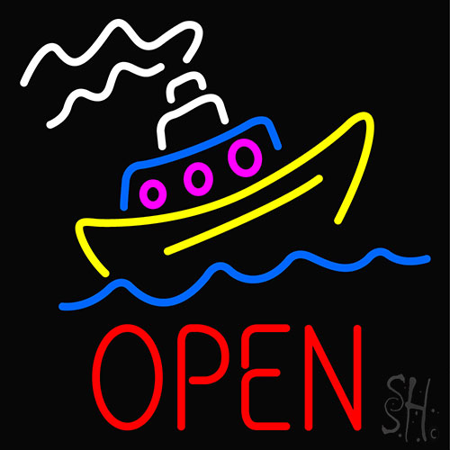 Open With Boat Neon Flex Sign