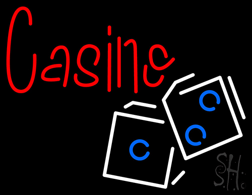 Casino In Red With White And Blue Logo Neon Flex Sign