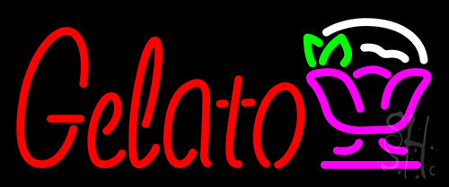 Gelato In Red Text With Dish Logo Neon Flex Sign