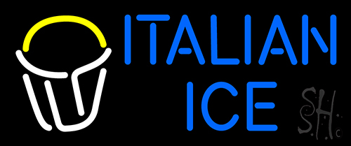Italian Ice Rich Blue Text Dish Logo Neon Flex Sign