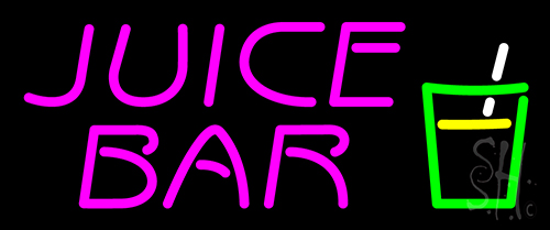 Juice Bar Pink Text Glass Logo Neon Flex Sign