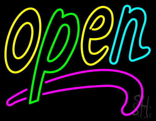 Multi Color Open Neon Flex Sign