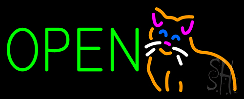 Open Cat Logo Green Letters Neon Flex Sign