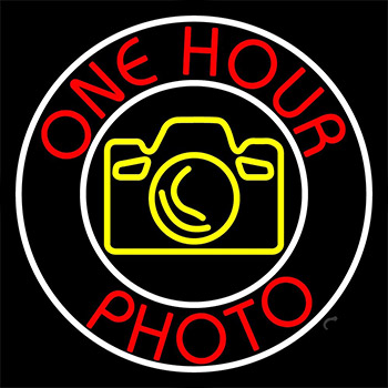 Red One Hour Photo LED Neon Sign