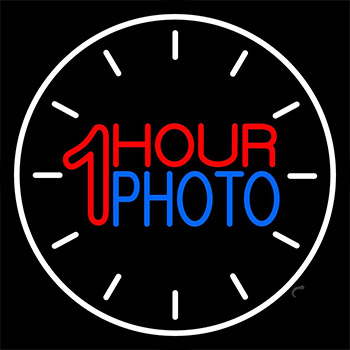 White Circle With 1 Hour Photo LED Neon Sign