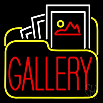 Gallery Icon With Red Gallery LED Neon Sign