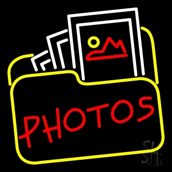 Red Photos With Photo Icon LED Neon Sign